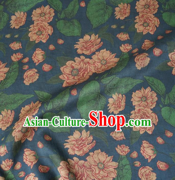 Chinese Traditional Lotus Pattern Design Navy Satin Watered Gauze Brocade Fabric Asian Silk Fabric Material