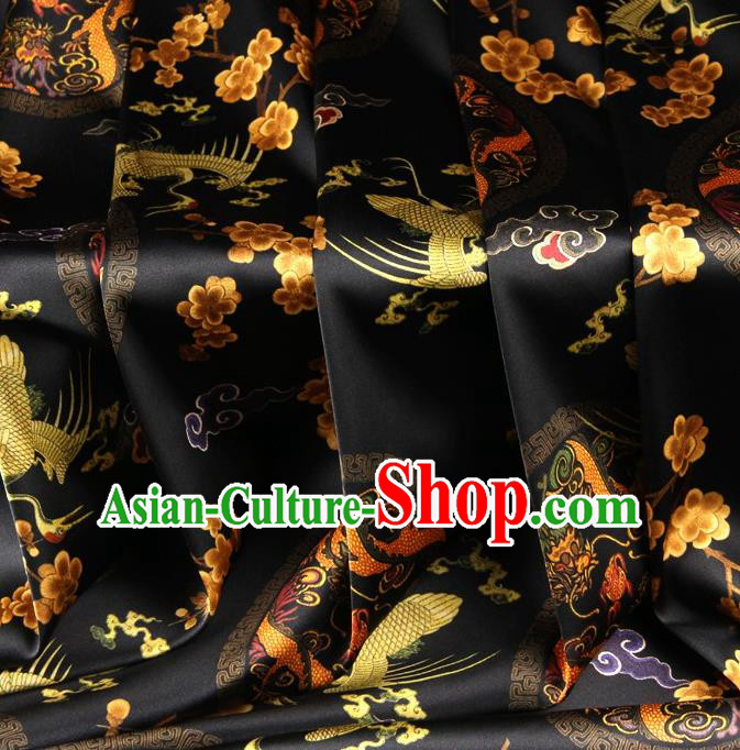 Chinese Traditional Dragon Crane Pattern Design Black Satin Watered Gauze Brocade Fabric Asian Silk Fabric Material