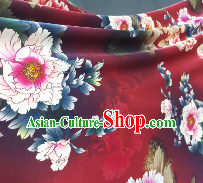 Chinese Traditional Peony Pattern Design Red Satin Watered Gauze Brocade Fabric Asian Silk Fabric Material