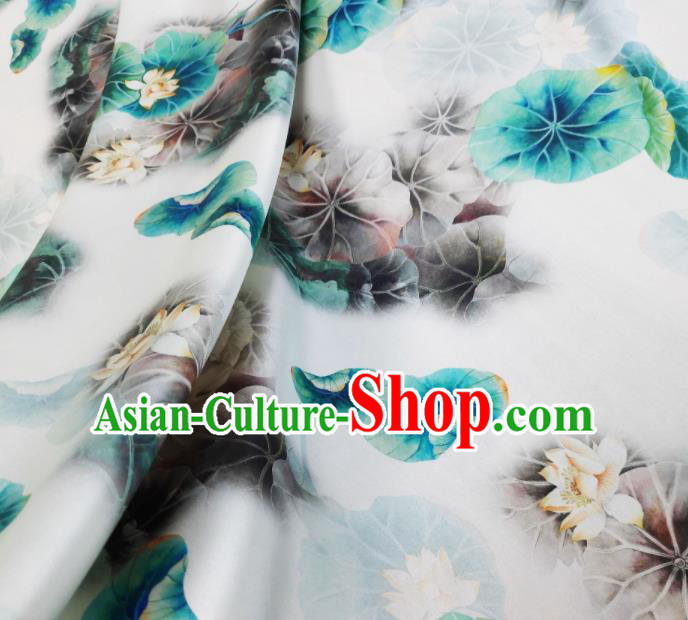 Chinese Traditional Lotus Pattern Design White Satin Watered Gauze Brocade Fabric Asian Silk Fabric Material