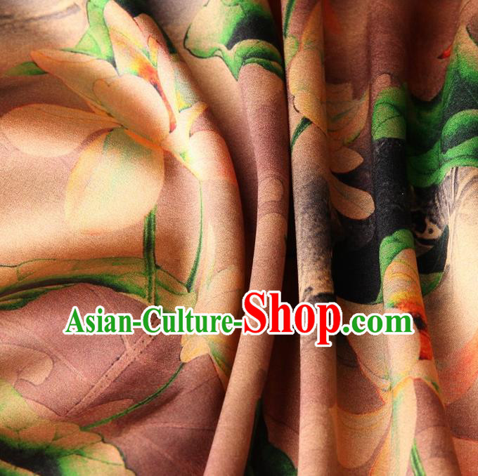 Chinese Traditional Lotus Pattern Design Khaki Satin Watered Gauze Brocade Fabric Asian Silk Fabric Material