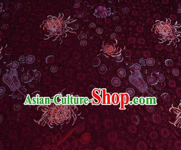 Chinese Classical Chrysanthemum Pattern Design Dark Red Brocade Asian Traditional Hanfu Silk Fabric Tang Suit Fabric Material