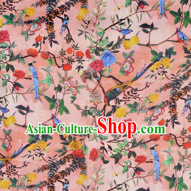 Chinese Traditional Flowers Birds Pattern Design Pink Satin Watered Gauze Brocade Fabric Asian Silk Fabric Material