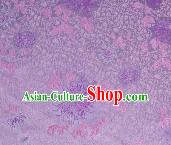 Chinese Classical Chrysanthemum Pattern Design Purple Brocade Asian Traditional Hanfu Silk Fabric Tang Suit Fabric Material