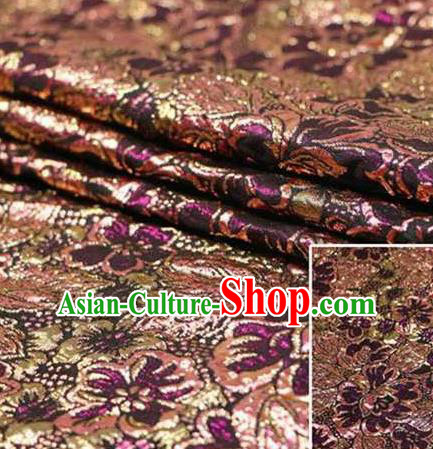 Chinese Classical Pattern Design Deep Purple Brocade Asian Traditional Hanfu Silk Fabric Tang Suit Fabric Material