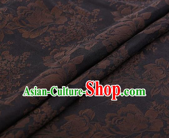 Chinese Traditional Peony Pattern Design Navy Satin Watered Gauze Brocade Fabric Asian Silk Fabric Material