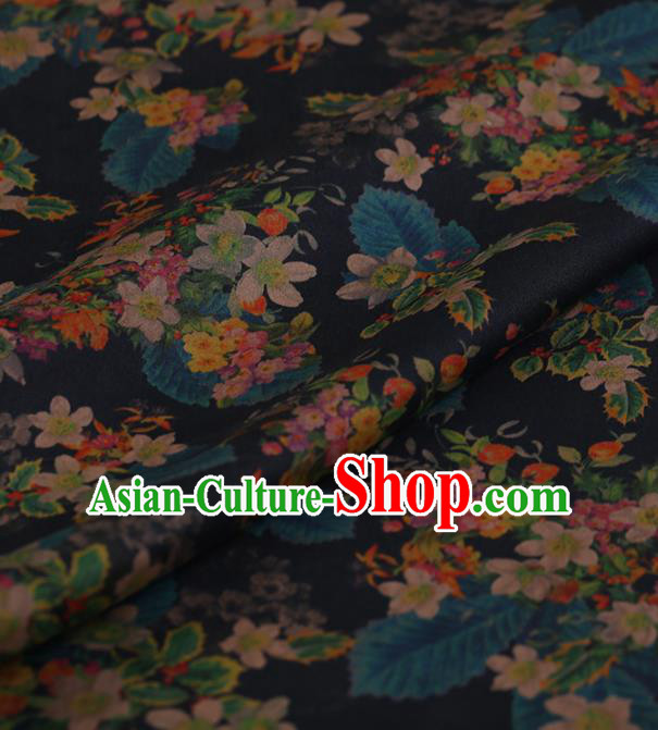 Traditional Chinese Satin Classical Flowers Pattern Design Black Watered Gauze Brocade Fabric Asian Silk Fabric Material