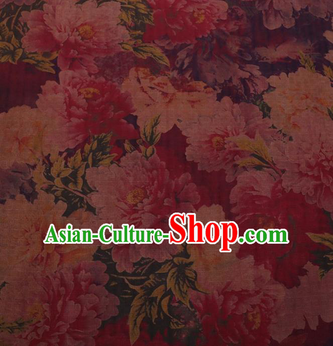 Traditional Chinese Satin Classical Peony Pattern Design Red Watered Gauze Brocade Fabric Asian Silk Fabric Material