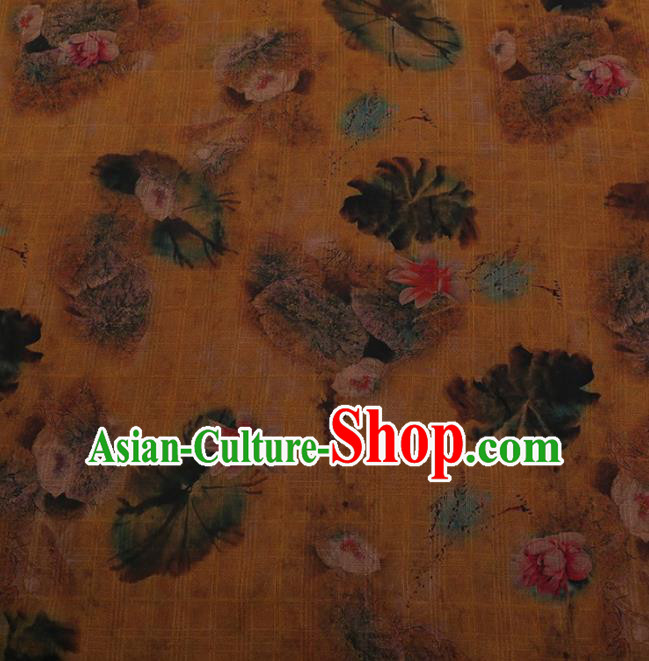 Traditional Chinese Satin Classical Lotus Pattern Design Yellow Watered Gauze Brocade Fabric Asian Silk Fabric Material