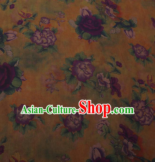Traditional Chinese Satin Classical Purple Peony Pattern Design Watered Gauze Brocade Fabric Asian Silk Fabric Material
