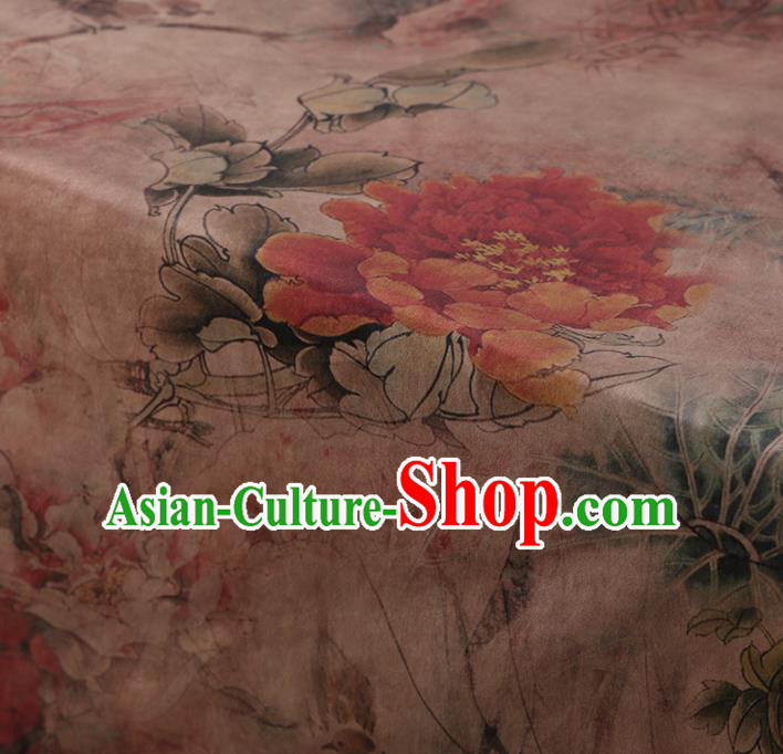Chinese Traditional Peony Pattern Design Pink Satin Watered Gauze Brocade Fabric Asian Silk Fabric Material