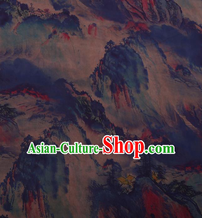 Traditional Chinese Satin Classical Landscape Pattern Design Blue Watered Gauze Brocade Fabric Asian Silk Fabric Material