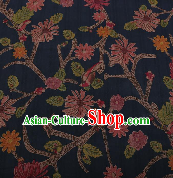 Traditional Chinese Satin Classical Pattern Design Navy Watered Gauze Brocade Fabric Asian Silk Fabric Material