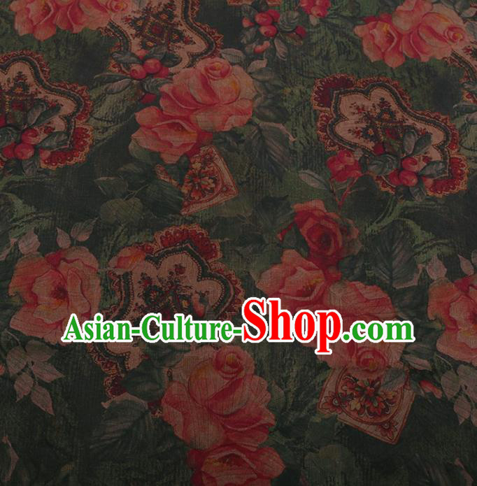 Traditional Chinese Satin Classical Roses Pattern Design Green Watered Gauze Brocade Fabric Asian Silk Fabric Material