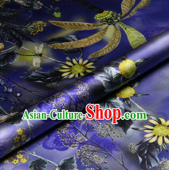 Traditional Chinese Satin Classical Sunflowers Pattern Design Purple Watered Gauze Brocade Fabric Asian Silk Fabric Material