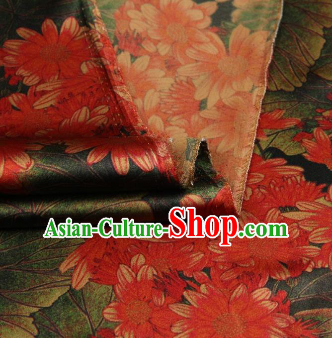 Traditional Chinese Satin Classical Sunflowers Pattern Design Red Watered Gauze Brocade Fabric Asian Silk Fabric Material