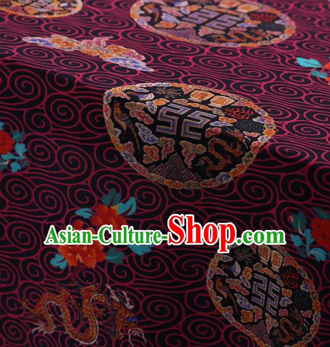 Traditional Chinese Satin Classical Lucky Pattern Design Purple Watered Gauze Brocade Fabric Asian Silk Fabric Material