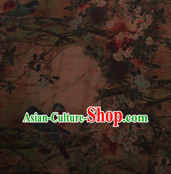 Traditional Chinese Satin Classical Pear Birds Pattern Design Watered Gauze Brocade Fabric Asian Silk Fabric Material