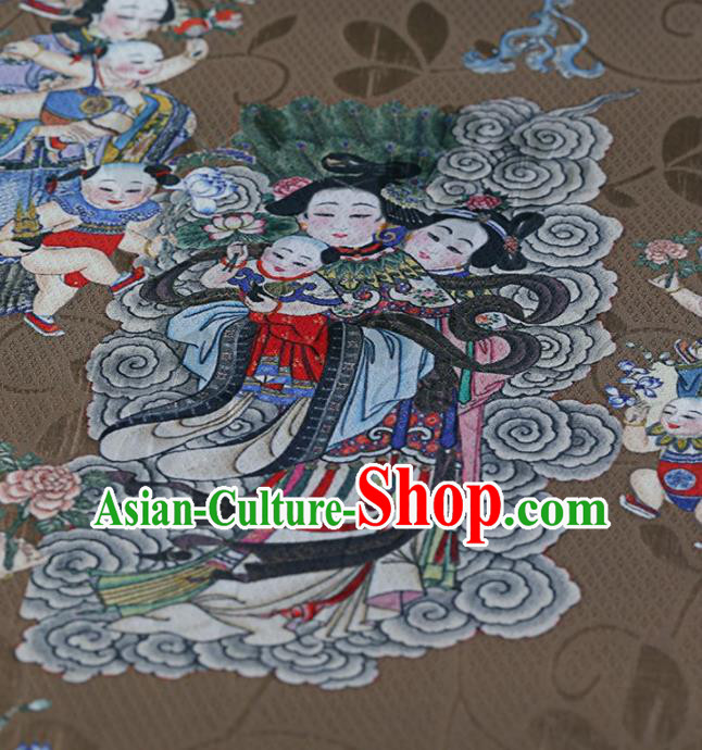 Traditional Chinese Satin Classical Avalokitesvara Pattern Design Brown Watered Gauze Brocade Fabric Asian Silk Fabric Material