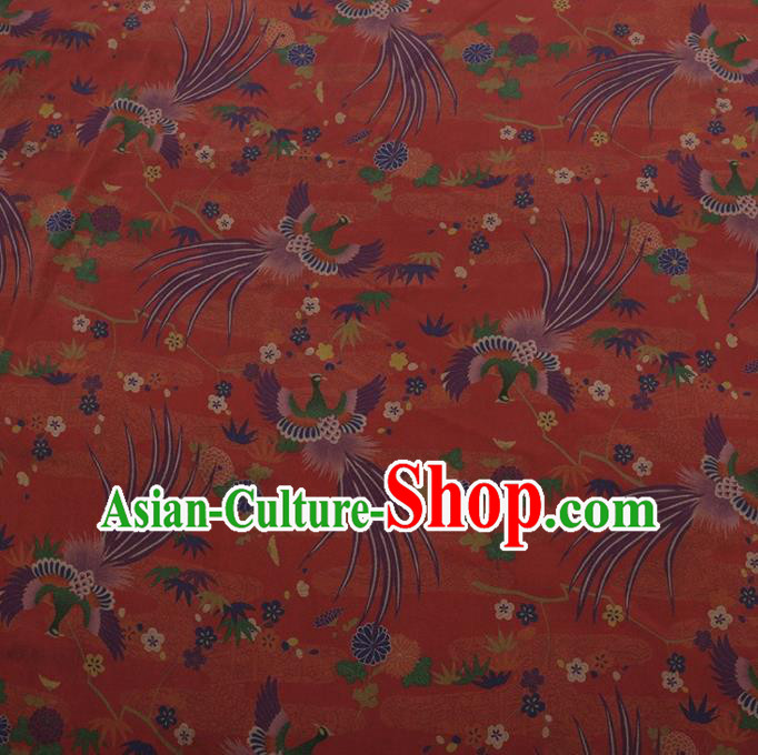 Traditional Chinese Classical Phoenix Pattern Design Red Satin Watered Gauze Brocade Fabric Asian Silk Fabric Material