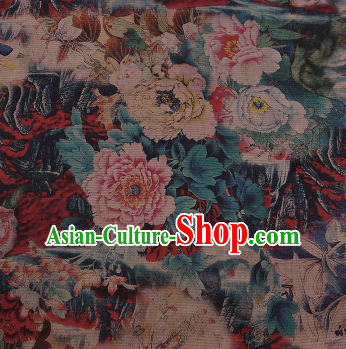 Chinese Traditional Peony Pattern Design Colorful Satin Watered Gauze Brocade Fabric Asian Silk Fabric Material