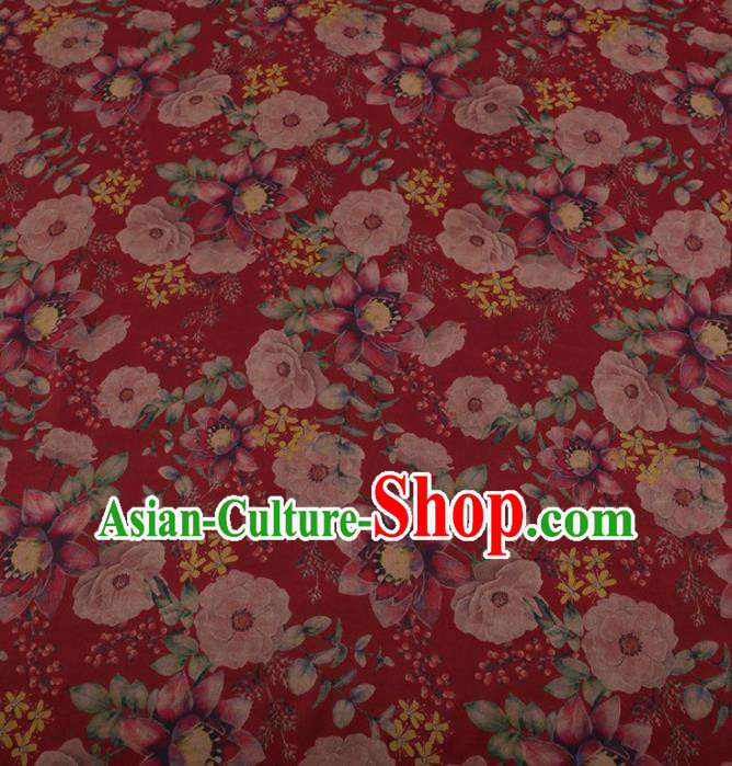 Traditional Chinese Classical Camellia Pattern Design Red Satin Watered Gauze Brocade Fabric Asian Silk Fabric Material