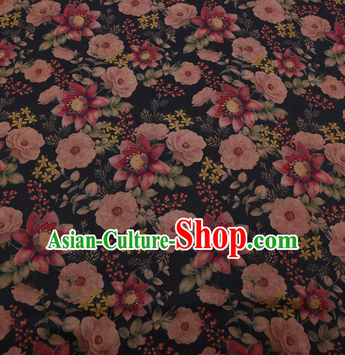 Traditional Chinese Classical Camellia Pattern Design Black Satin Watered Gauze Brocade Fabric Asian Silk Fabric Material