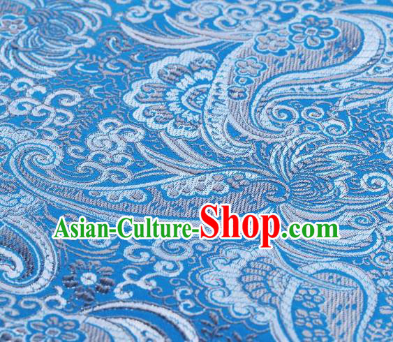 Chinese Classical Charonia Tritonis Pattern Design Light Blue Brocade Asian Traditional Hanfu Silk Fabric Tang Suit Fabric Material