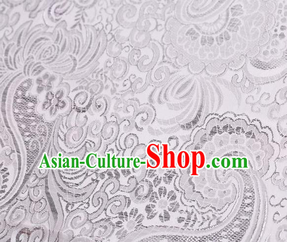 Chinese Classical Charonia Tritonis Pattern Design White Brocade Asian Traditional Hanfu Silk Fabric Tang Suit Fabric Material