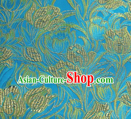 Chinese Classical Tulip Pattern Design Blue Brocade Asian Traditional Hanfu Silk Fabric Tang Suit Fabric Material
