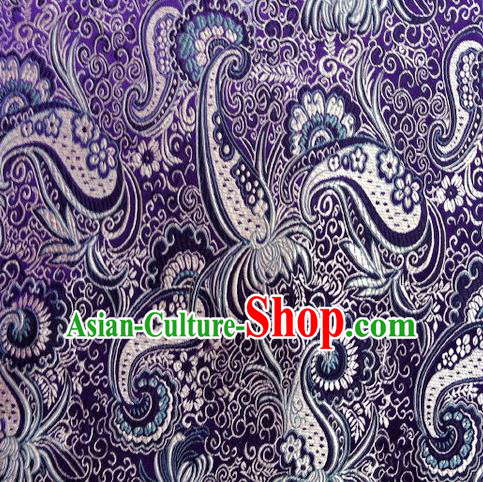 Chinese Classical Charonia Pattern Design Purple Brocade Asian Traditional Hanfu Silk Fabric Tang Suit Fabric Material
