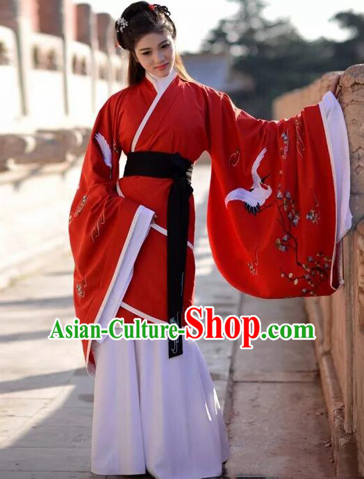 Traditional Chinese Han Dynasty Wedding Embroidered Red Hanfu Dress Ancient Drama Court Princess Historical Costume for Women