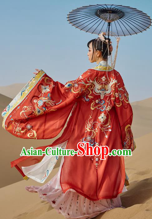 Traditional Chinese Tang Dynasty Princess Embroidered Wedding Hanfu Dress Ancient Drama Court Bride Historical Costume for Women