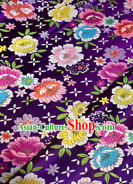 Chinese Classical Flowers Pattern Design Purple Brocade Asian Traditional Hanfu Silk Fabric Tang Suit Fabric Material