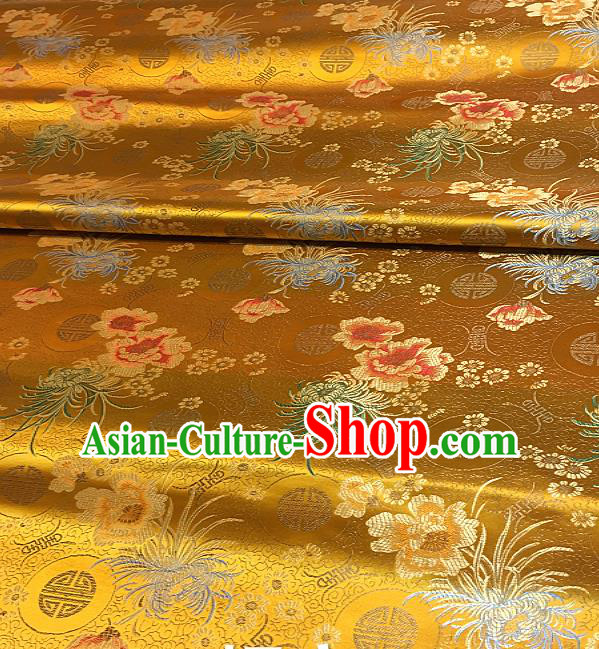 Chinese Classical Chrysanthemum Peony Pattern Design Golden Brocade Drapery Asian Traditional Tang Suit Silk Fabric Material