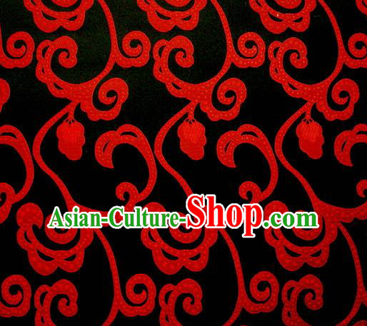 Chinese Classical Hook Chrysanthemum Pattern Design Black Brocade Asian Traditional Hanfu Silk Fabric Tang Suit Fabric Material