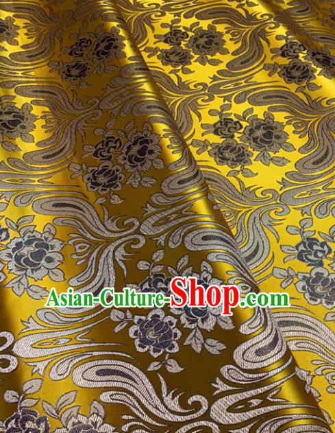 Chinese Classical Birdfoot Pattern Design Golden Brocade Drapery Asian Traditional Tang Suit Silk Fabric Material