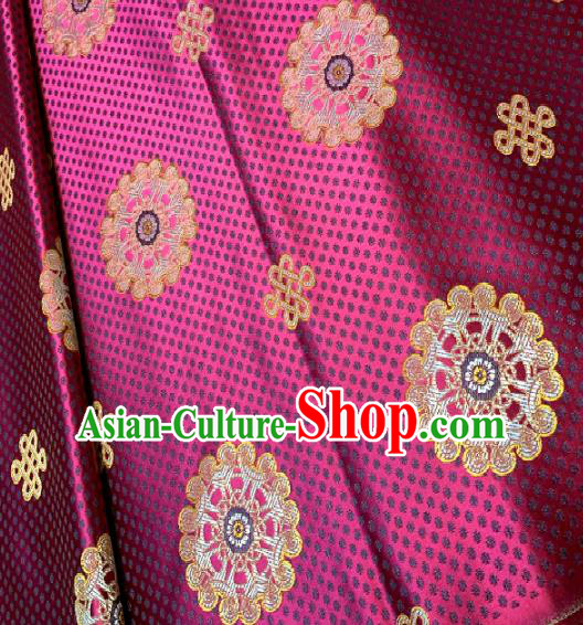 Chinese Classical Satin Little Flowers Pattern Design Rosy Brocade Drapery Asian Traditional Tang Suit Silk Fabric Material