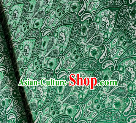 Chinese Classical Satin Loquat Flowers Pattern Design Green Brocade Drapery Asian Traditional Tang Suit Silk Fabric Material