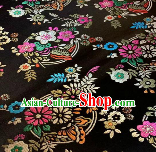 Chinese Classical Black Satin Traditional Butterfly Pattern Design Brocade Drapery Asian Tang Suit Silk Fabric Material