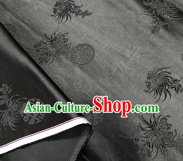 Traditional Chinese Classical Chrysanthemum Pattern Design Fabric Black Brocade Tang Suit Satin Drapery Asian Silk Material