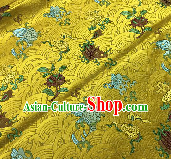 Traditional Chinese Classical Carps Pattern Design Fabric Golden Brocade Tang Suit Satin Drapery Asian Silk Material