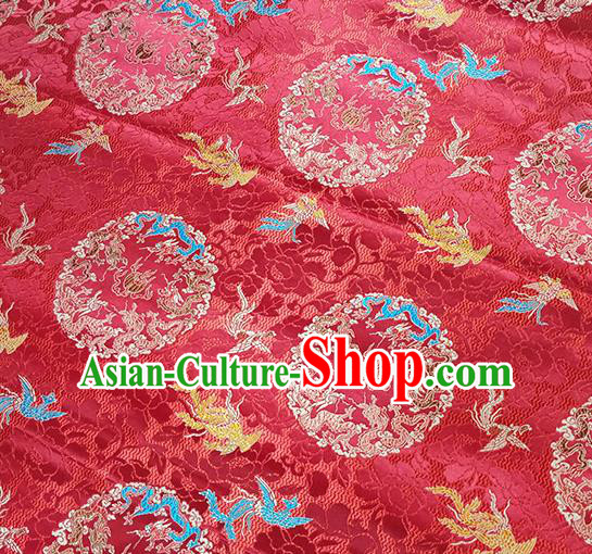 Traditional Chinese Classical Phoenix Pattern Design Fabric Red Brocade Tang Suit Satin Drapery Asian Silk Material