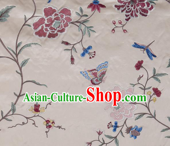 Traditional Chinese Classical Embroidered Red Peony Pattern Design Fabric Brocade Tang Suit Satin Drapery Asian Silk Material