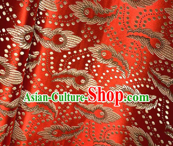 Chinese Classical Red Brocade Traditional Feather Pattern Design Satin Drapery Asian Tang Suit Silk Fabric Material
