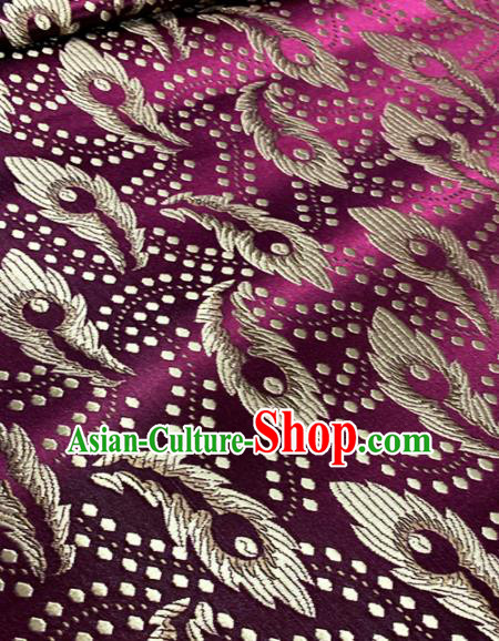 Chinese Classical Purple Brocade Traditional Feather Pattern Design Satin Drapery Asian Tang Suit Silk Fabric Material