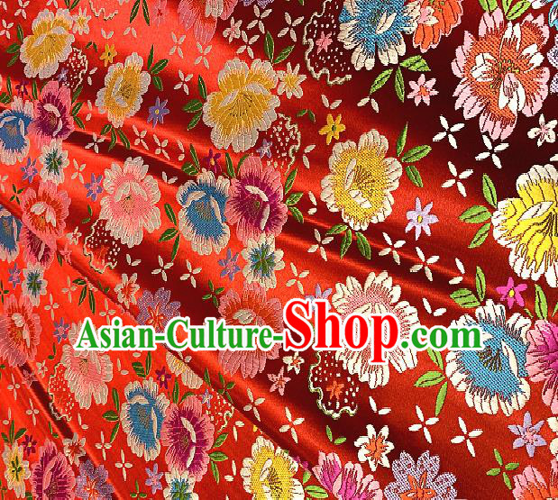 Chinese Traditional Red Brocade Classical Peony Pattern Design Satin Drapery Asian Tang Suit Silk Fabric Material