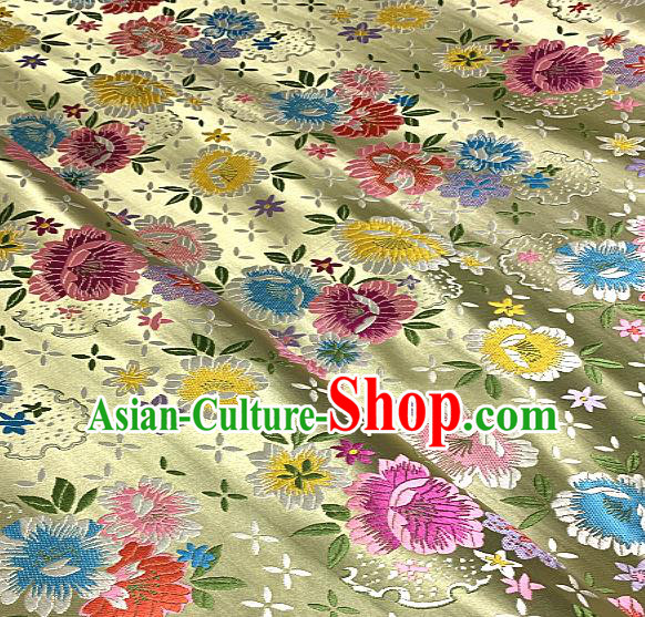 Chinese Traditional Golden Brocade Classical Peony Pattern Design Satin Drapery Asian Tang Suit Silk Fabric Material