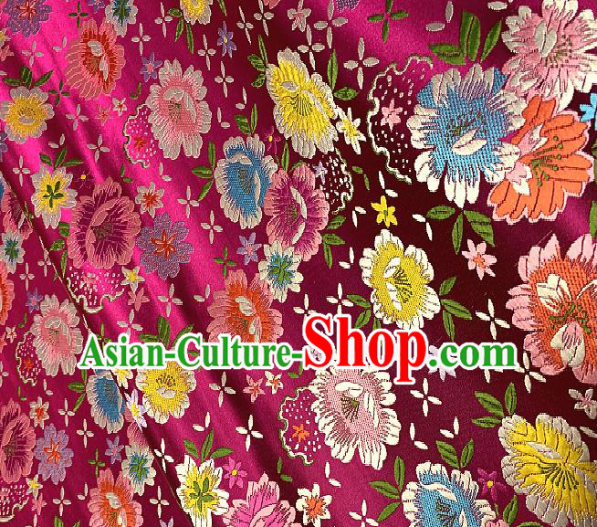 Chinese Traditional Rosy Brocade Classical Peony Pattern Design Satin Drapery Asian Tang Suit Silk Fabric Material