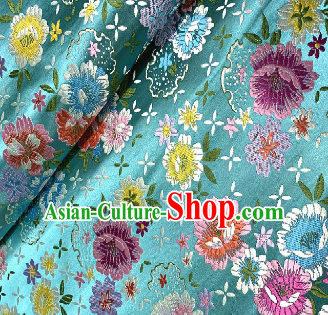 Chinese Traditional Blue Brocade Classical Peony Pattern Design Satin Drapery Asian Tang Suit Silk Fabric Material